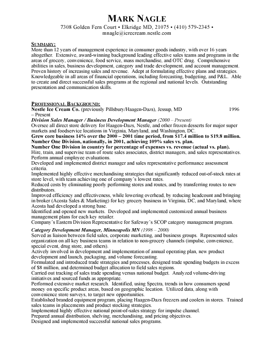 Divisional Sales Manager Sample Resume