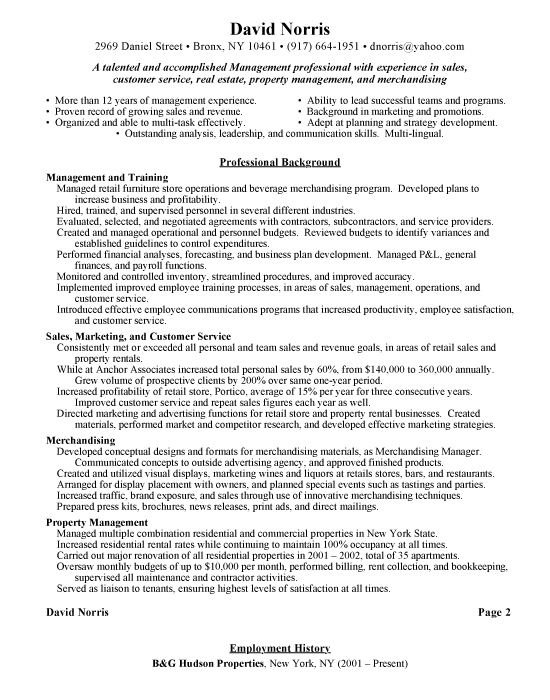 sle resume for retail store manager