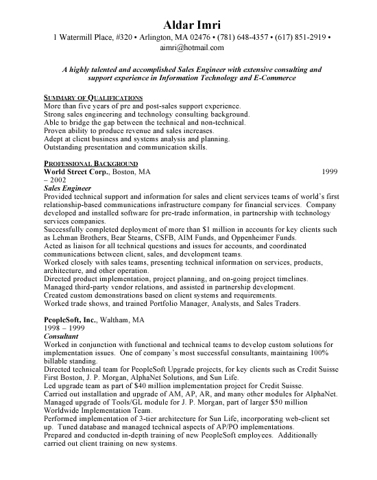 sample resume. Sales Engineer Sample Resume