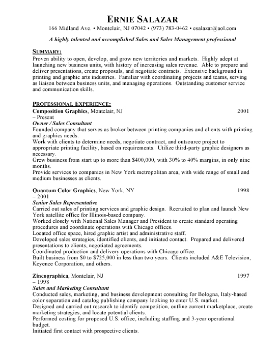 Printing Sales Sample Resume | Example | Template