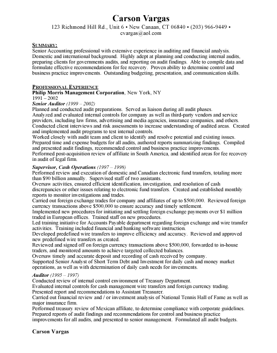 Senior Auditor Sample Resume Template Example