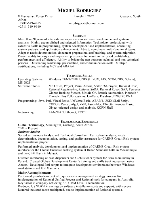 Software Developer Sample Resume Template Example