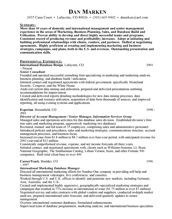 Senior Consultant Sample Resume Template Example