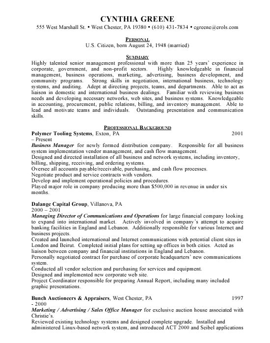 business manager resume international business cv