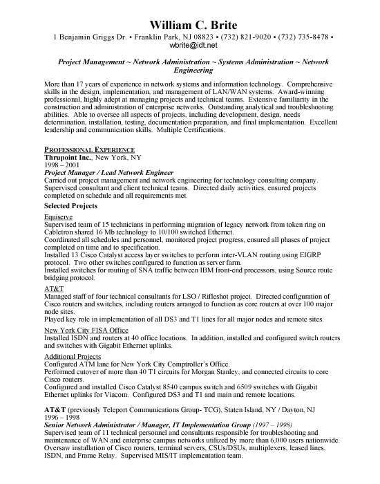 Network Engineer Sample Resume Example Template