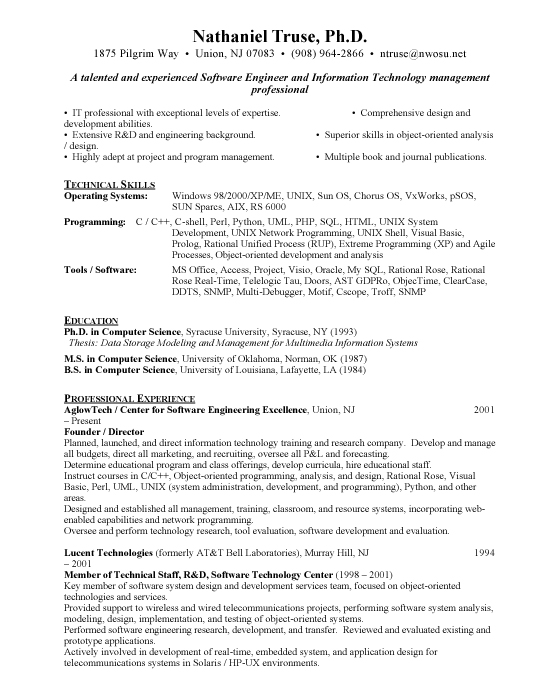 Senior Software Engineer Sample Resume Template Example