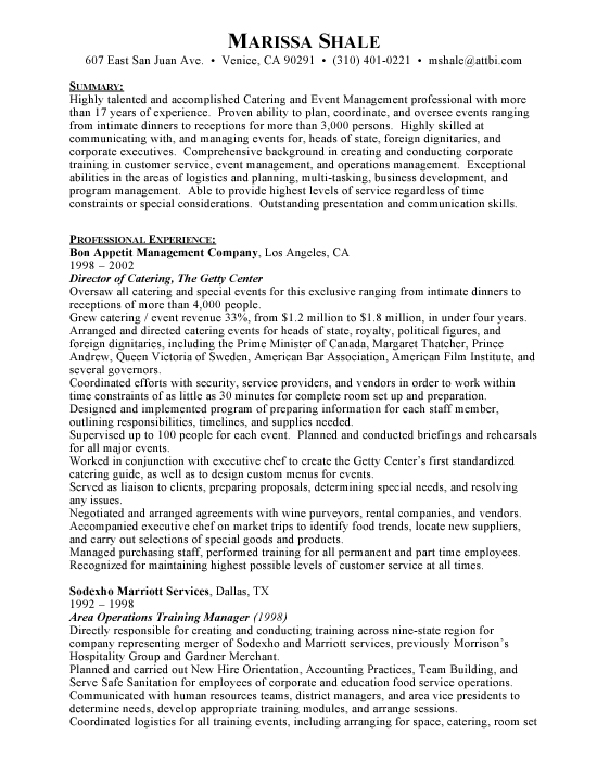 Catering Director | Hospitality Sample Resume Example