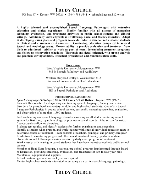 Speech Pathologist Sample Resume Example Template