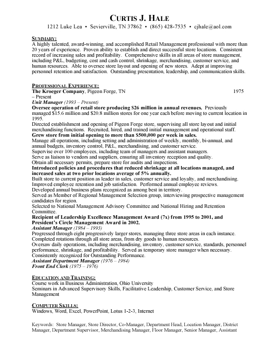 Grocery Store Manager Sample Resume Template Example