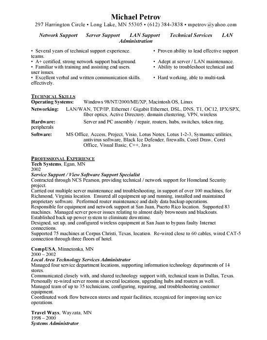 Computer it specialist resume