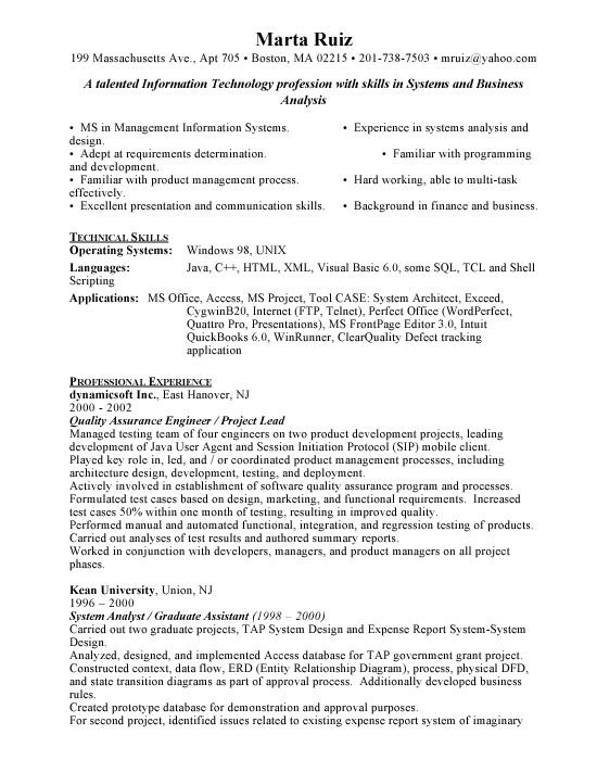 Quality Assurance Engineer Sample Resume Example Template