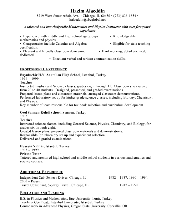 Teacher Resume Sample Example Template