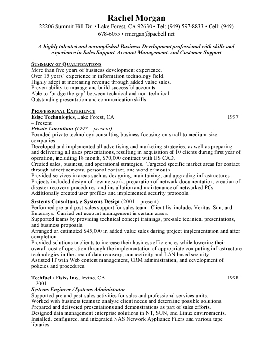 Technology Consultant Sample Resume Example Template