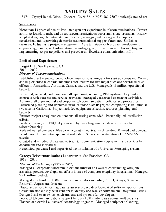 Professional Telecommunications Technician Resume Template Cable