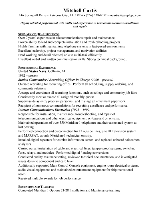 Military Sample Resume Template Example