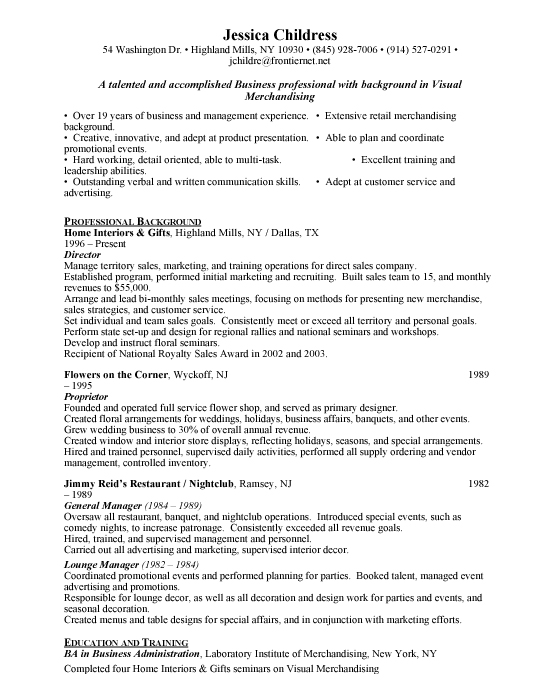 Sample resume for visual merchandising manager