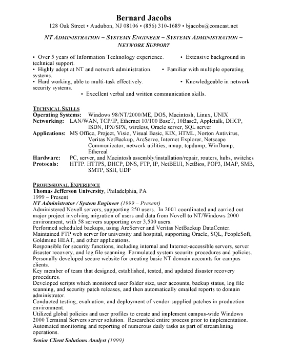 windows administrator resume